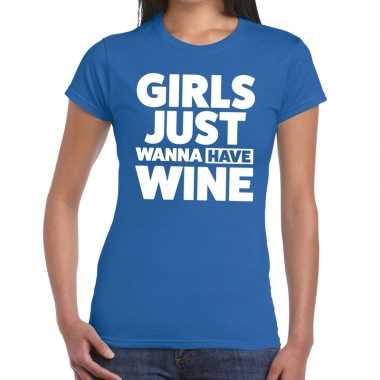 Meisjes toppers girls just wanna have wine tekst t shirt blauw dames