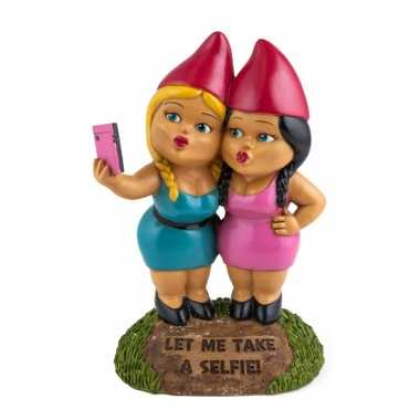 Meisjes tuinkabouters selfie zusters 23 cm