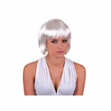 Meisjes verkleedpruik dames wit