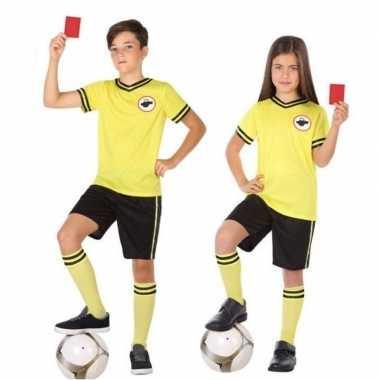 Meisjes voetbal scheidsrechter verkleed kostuum voor kinderen