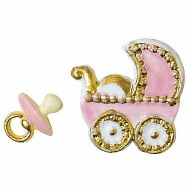 Meisjes was geboorte figuurtjes roze alkmaar