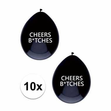 Meisjes zwarte cheers bitches ballonnen brutaal 10 x