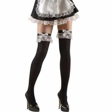 Meisjes zwarte over-knee kousen met strik