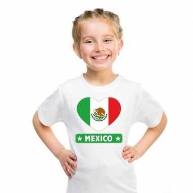 Mexico hart vlag t-shirt wit en meisjes