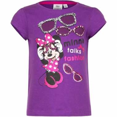 Minnie mouse t shirt paars voor meisjes