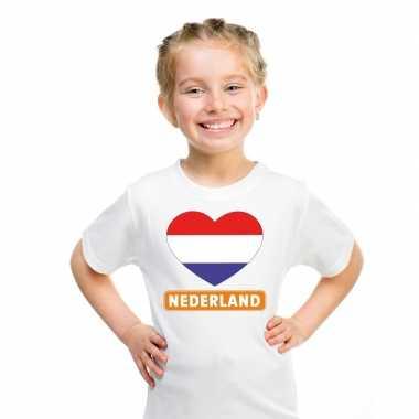 Nederland hart vlag t-shirt wit en meisjes