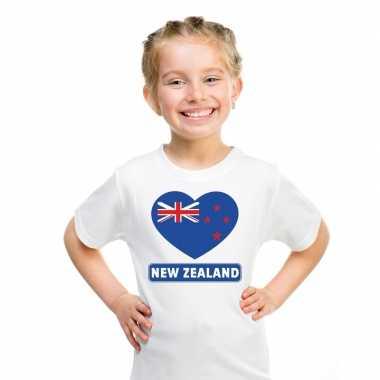 Nieuw zeeland hart vlag t-shirt wit en meisjes