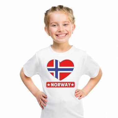 Noorwegen hart vlag t-shirt wit en meisjes