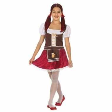 Oktoberfest tiroler verkleed jurk bruin/rood voor meisjes