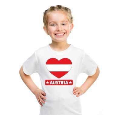 Oostenrijk hart vlag t-shirt wit en meisjes
