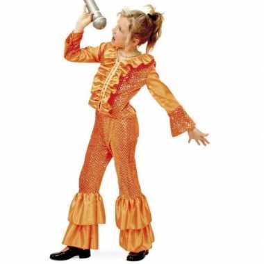 Oranje glitter pak voor meisjes
