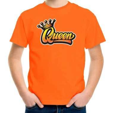 Oranje koningsdag queen t shirt voor kinderen/ meisjes