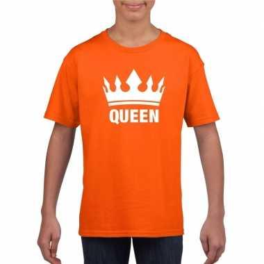 Oranje koningsdag shirt met kroon meisjes