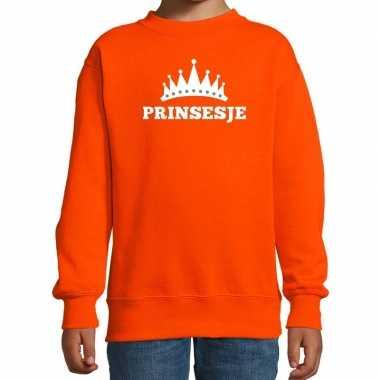 Oranje prinsesje met kroon sweater meisjes