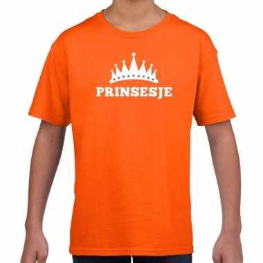 Oranje prinsesje met kroon t shirt meisjes