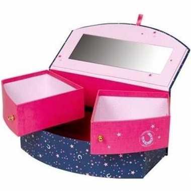 Paarden sieradendoos/juwelendoos blauw/roze voor meisjes