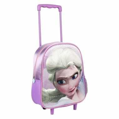 Paarse 3d elsa frozen weekendtas/trolley voor meisjes 31 cm