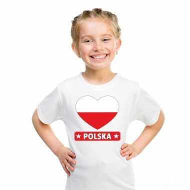 Polen hart vlag t shirt wit en meisjes