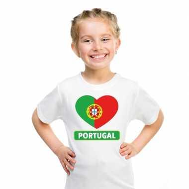 Portual hart vlag t-shirt wit en meisjes