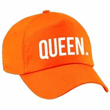 Queen pet / cap oranje met witte bedrukking voor meisjes