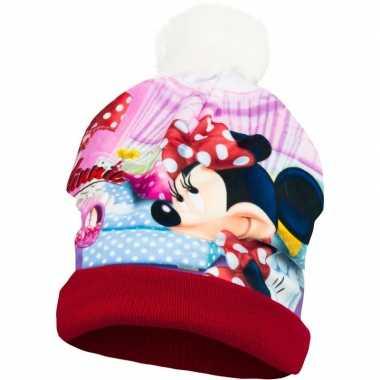 Rode minnie mouse muts met pompom voor meisjes