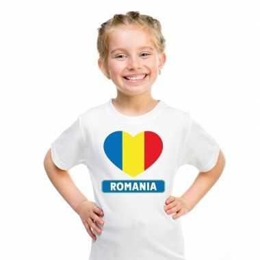 Roemenie hart vlag t-shirt wit en meisjes