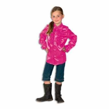 Rouche blouse meisjes roze