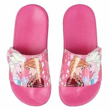 Roze elsa en anna frozen badslippers/saunaslippers voor meisjes