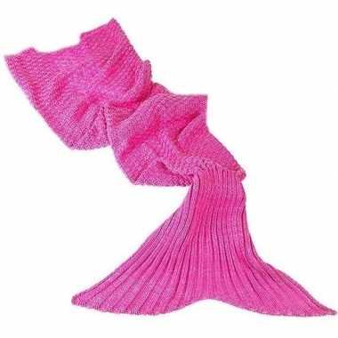Roze gebreide zeemeermin deken voor meisjes 140 cm