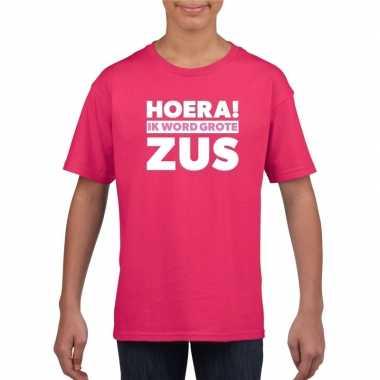 Roze hoera ik word grote zus t shirt voor meisjes
