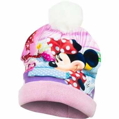 Roze minnie mouse muts met pompom voor meisjes