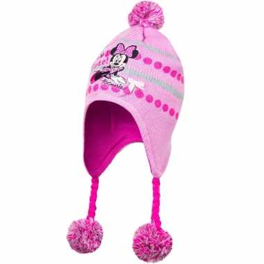 Roze minnie mouse muts met vlechtjes en pompoms voor meisjes