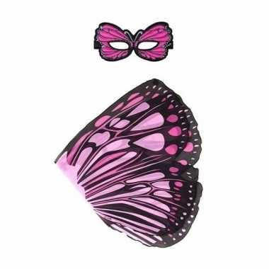 Roze monarchvlinder verkleedset voor meisjes