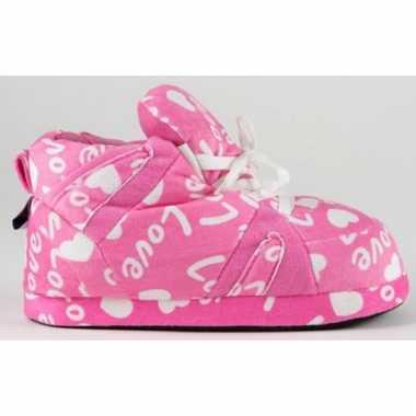 Roze pantoffels love voor meisjes