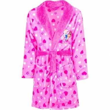 Roze princess badjas met capuchon voor meisjes