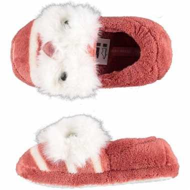 Roze uilen ballerina pantoffels/sloffen voor meisjes