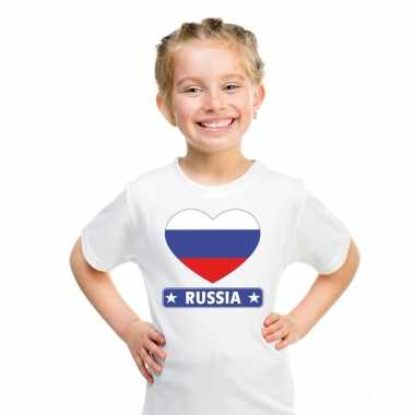Rusland hart vlag t shirt wit en meisjes