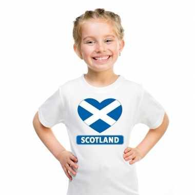 Schotland hart vlag t shirt wit en meisjes