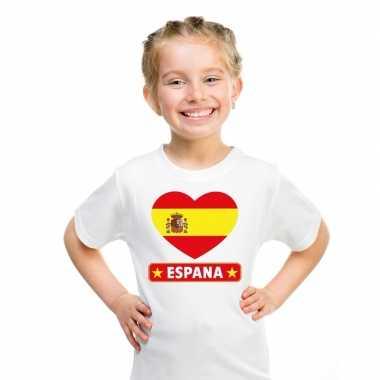 Spanje hart vlag t-shirt wit en meisjes