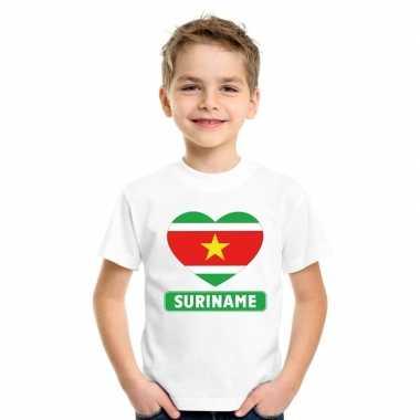 Suriname hart vlag t-shirt wit en meisjes