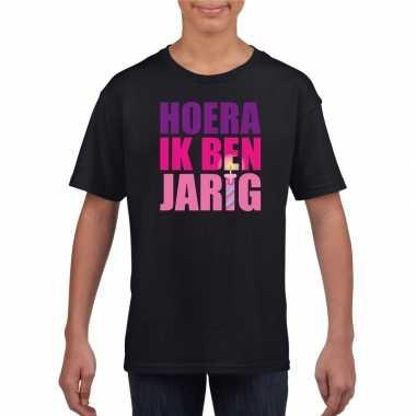 T shirt zwart voor meisjes hoera ik ben jarig roze tekst