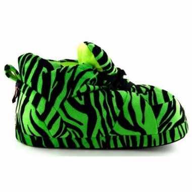 Tijger pantoffels groen voor meisjes