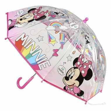 Transparante disney minnie mouse paraplu voor meisjes 71 cm