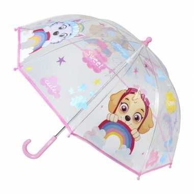 Transparante paw patrol skye paraplu voor meisjes 71 cm