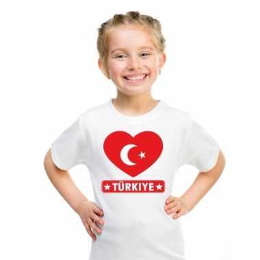 Turkije hart vlag t-shirt wit en meisjes