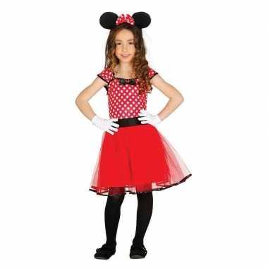 Verkleed muizen jurkje rood met stippen voor meisjes