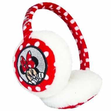 Wit/rode minnie mouse oorwarmers voor meisjes