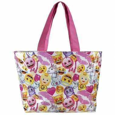Wit roze emoji smiley strandtas zwemtas voor meisjes 48 cm