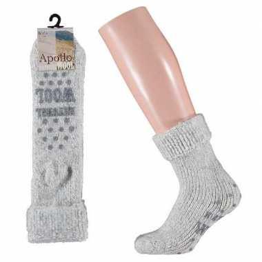 Wollen sokken in grijs voor meisjes maat 31/34