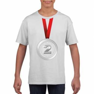 Zilveren medaille kampioen shirt wit en meisjes